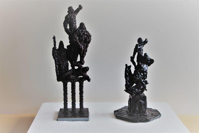 Studies van het kunstwerk van Henny Zandjans dat op het Plein onder de Platanen zou moeten komen. Er is geen geld, dus ook geen kunstwerk.