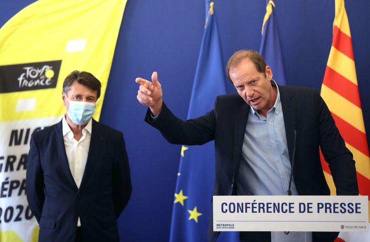 Tourbaas Christian Prudhomme (rechts) met Christian Estrosi, burgemeester van Nice.