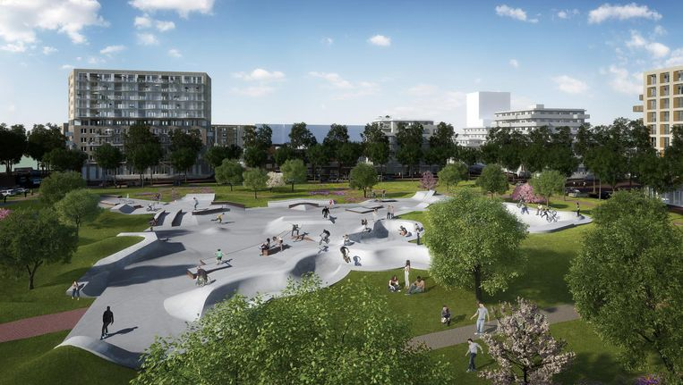 Urban Sport Zone, gepland in 2019 op Zeeburgereiland, is ontworpen in nauw overleg met bewoners en gebruikers Beeld Artist impression