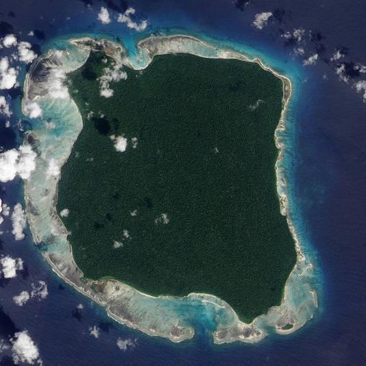 Noord-Sentineleiland vanuit de lucht.