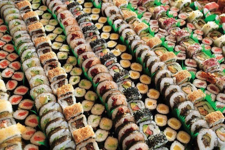 Een hal vol sushi: dat wordt stouwen! Beeld Shutterstock