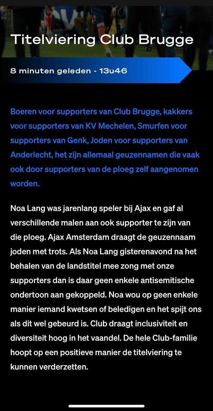 Het statement van Club Brugge.