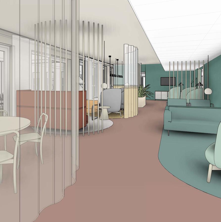 Een wachtgebied in het nieuwe centrum voor oncologische zorg in Meander dat dit najaar geopend moet worden.