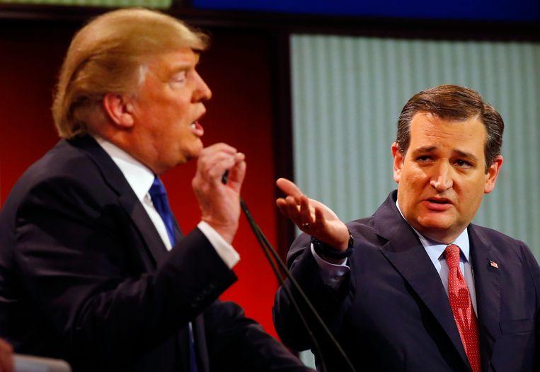 Donald Trump en Ted Cruz tijdens een debat op 3 maart. Beeld AP