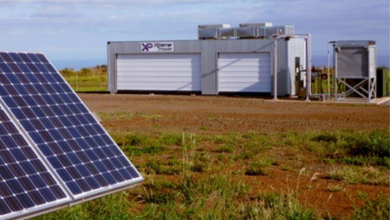 Zonnestroom-opslag op Hawaii: spectaculair oogt het niet, maar effectief is het wel... Beeld Xtreme Power