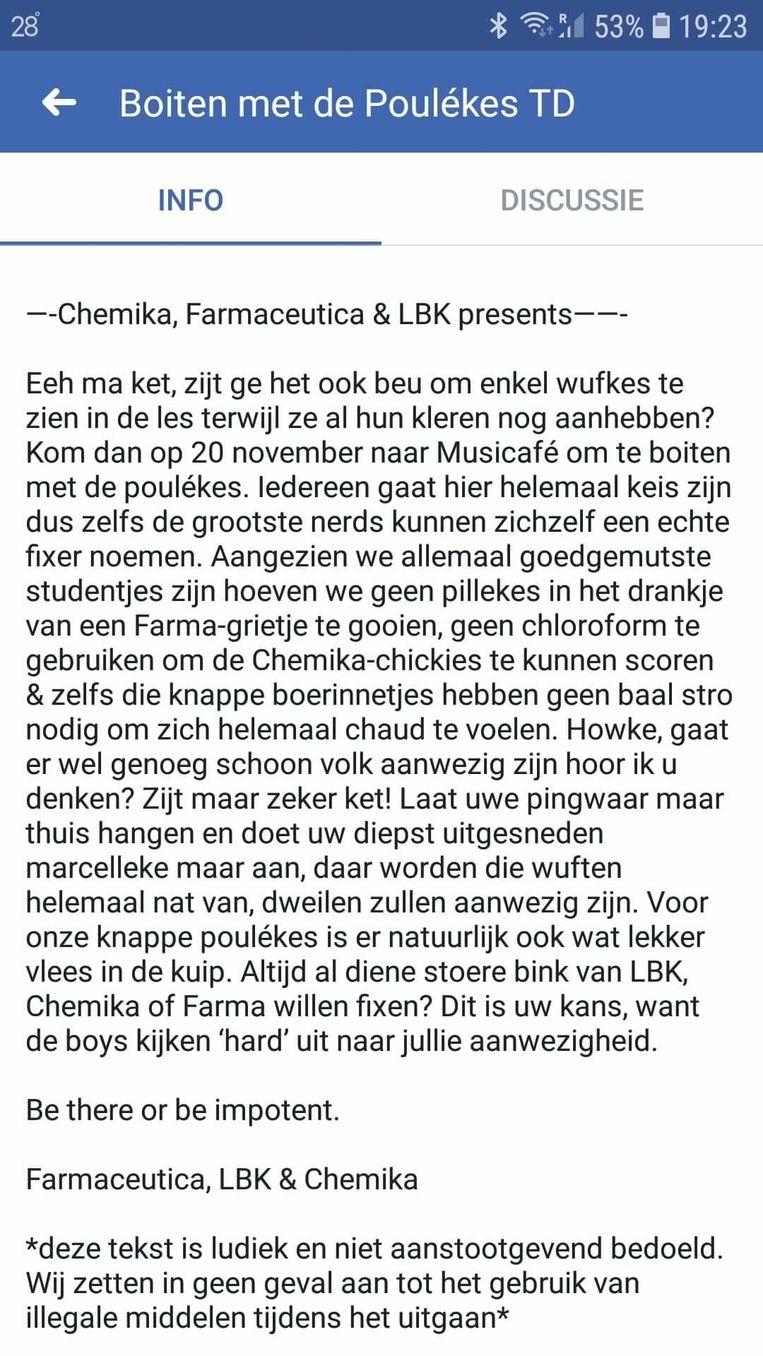 Deze uitnodiging -die op Facebook circuleert- is ontoelaatbaar volgens de stad Leuven en de KU Leuven.