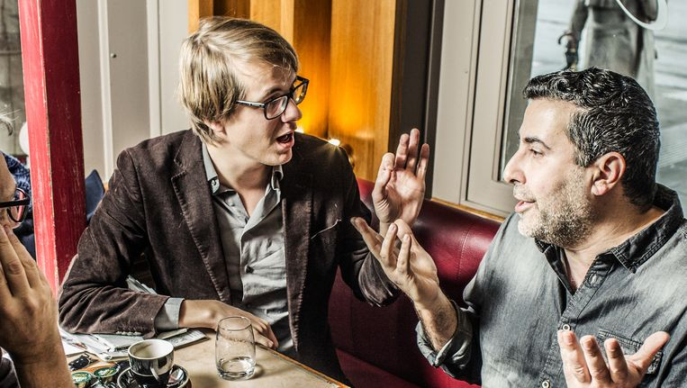 Maarten Boudry en Dyab Abou Jahjah. Beeld Franky Verdickt
