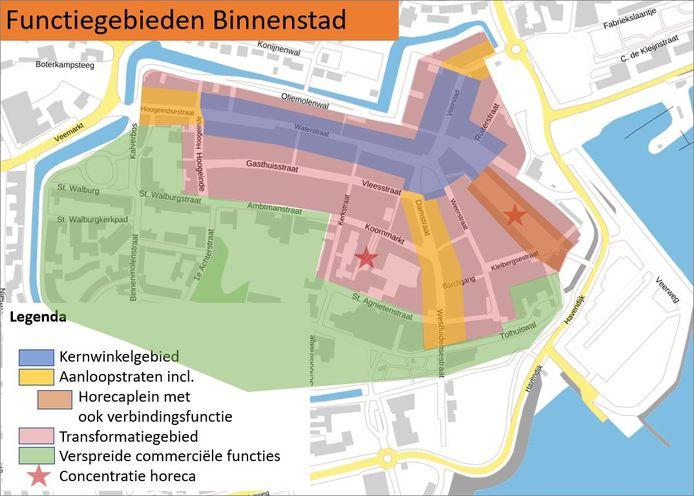 De gemeente heeft bepaald welke gebieden als kernwinkelgebied, aanloopstraten en transformatiegebied bestempeld kunnen worden.