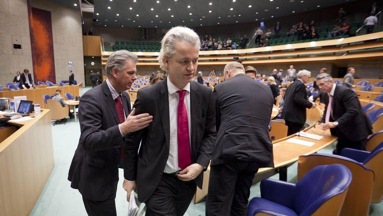 Hero Brinkman (links) en Geert Wilders in de Tweede Kamer. Beeld ANP