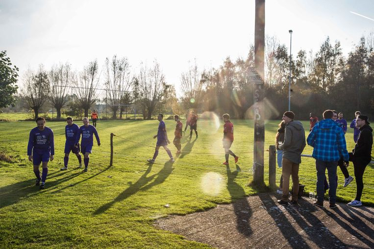 Cafévoetbal in Hamme. Beeld Bas Bogaerts