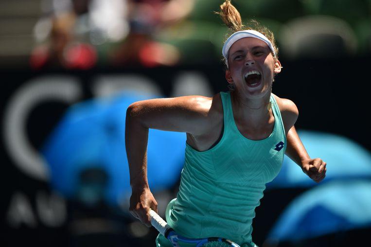 Elise Mertens schreeuwt het uit van vreugde nadat ze de halve finale bereikt op de Australian Open. Beeld AFP