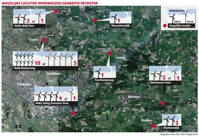 Mogelijk locaties windmolens Deventer, na onderzoek in 2018.