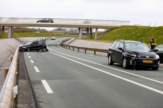 Het ongeval in beeld op de randweg Voorst.