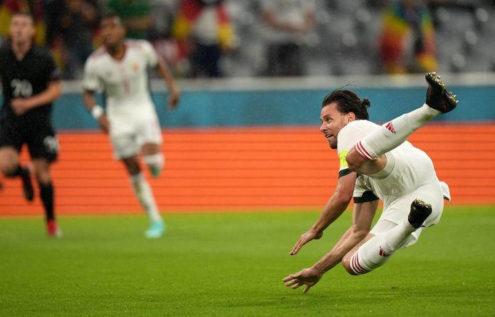 Adam Szalai met de 0-1 tegen Duitsland.