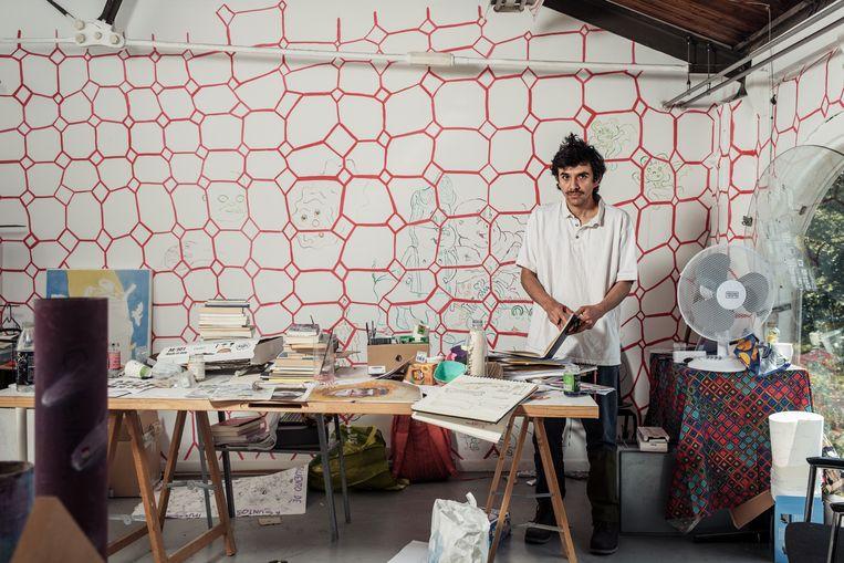 Daniel Aguilar Ruvalcaba komt uit Mexico. Het schildpadpatroon op de muren is onderdeel van een werk dat hij baseerde op de paradox van Achilles en de schildpad.  Beeld Jakob van Vliet