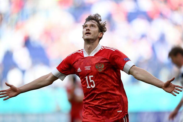 Aleksei Mirantsjoek viert zijn treffer tegen Finland. Beeld AP