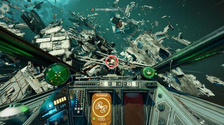 'Hectisch' is nog maar zwak uitgedrukt, als we het hebben over de veldslagen in de ruimte er vaak uitzien in Squadrons. Beeld EA