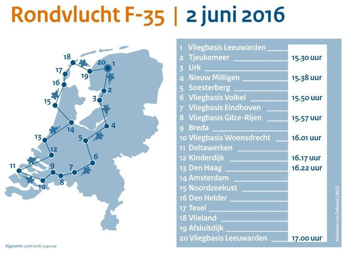 De JSF maakt op donderdag 2 juni een rondvlucht over Nederland. Graphic: Ministerie van Defensie