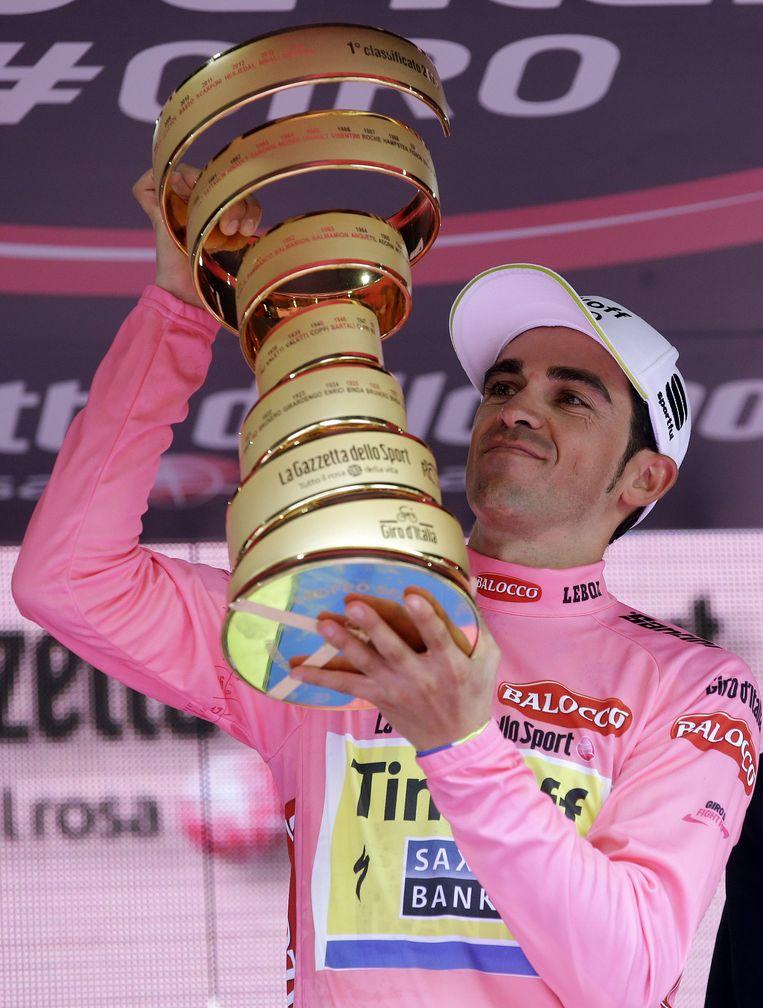 Contador vierde zijn tweede eindzege alsof het zijn derde was. Beeld AP
