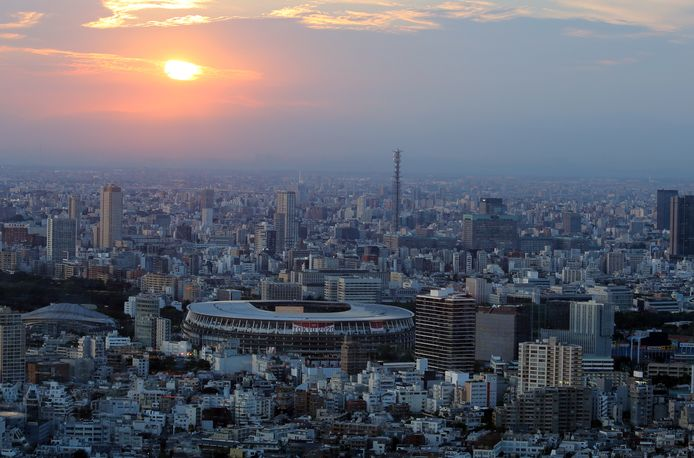 Het Olympisch Stadion in Tokio waar vrijdag de openingsceremonie van de Spelen wordt gehouden. Het bedrijf PRG uit Hasselt levert ruim 18 ton aan audiovisuele apparatuur en stuurt ook vijf operatoren voor die ceremonie.
