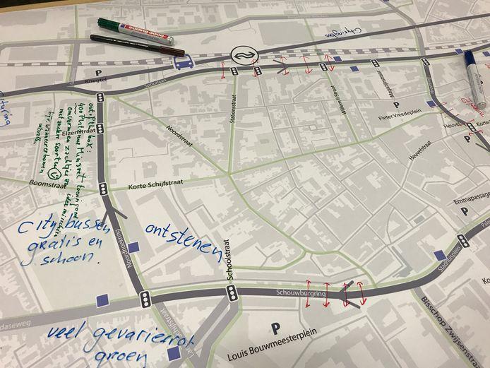Een schets die maandagavond voorbij kwam in de discussie over de cityring in Tilburg.