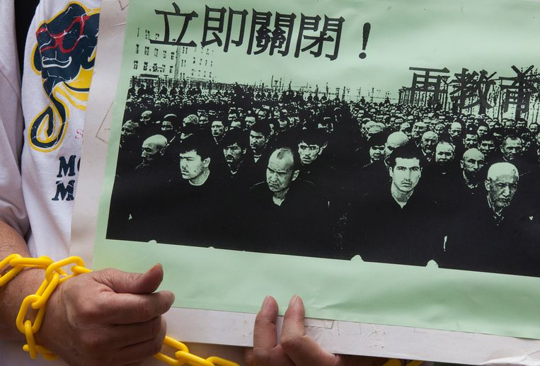 Een protest tegen de behandeling van de Oeigoeren in China. Beeld EPA