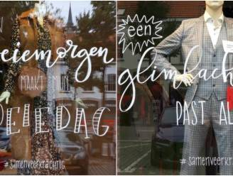 Spreuken sieren vitrines van winkels om geestelijke gezondheid bespreekbaar te maken