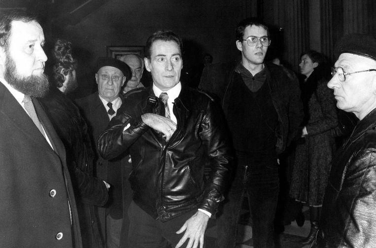 Bert Eriksson in 1983, bij de rechtszaak tegen de Vlaamse Militanten Orde. Die nationalistische groepering zou dat jaar worden ontbonden. Beeld Belga