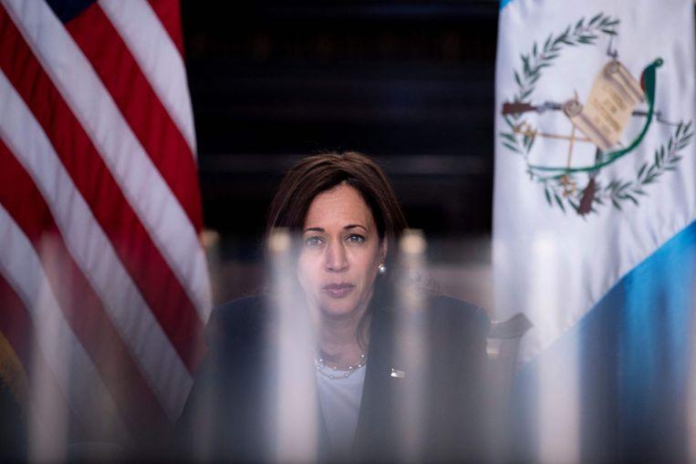 Vice-president Kamala Harris spreekt online met Guatemala's president Alejandro Giammattei.  Beeld AFP