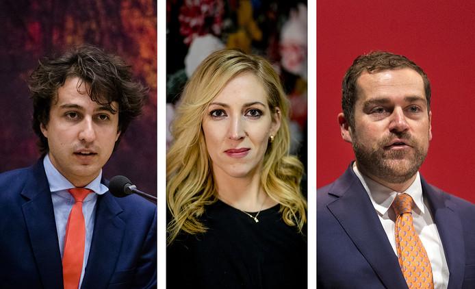 Van links naar rechts: Fractievoorzitters Jesse Klaver (GroenLinks), Lilian Marijnissen (SP) en Klaas Dijkhoff (VVD).