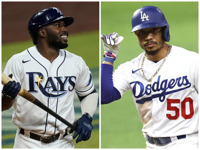 Rays-verrassing Randy Arozarena (l) en Dodgers-superster Mookie Betts.
