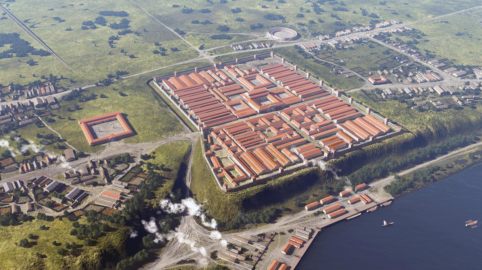 Romeinse Limes,  Nijmegen rond het jaar 100. De Romeinse stad in het oostelijk deel van de stad, een Romeins kamp met handelsmarkt.
