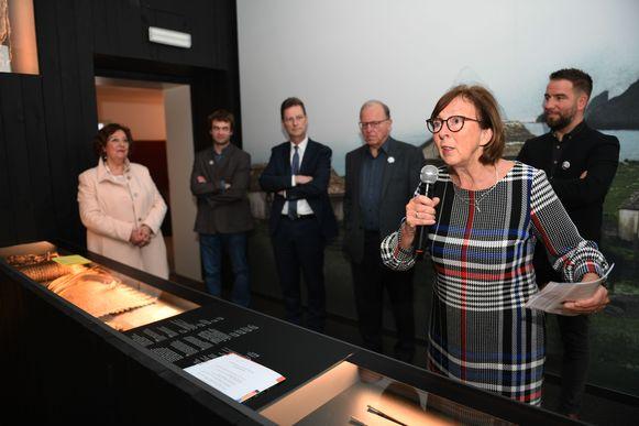 Monique Swinnen, gedeputeerde provincie Vlaams-Brabant, tijdens de voorstelling van het nieuwe Damiaanjaar in Tremelo