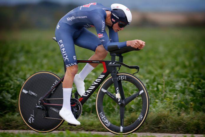 Mathieu van der Poel tijdens de tijdrit van de BinckBank Tour.