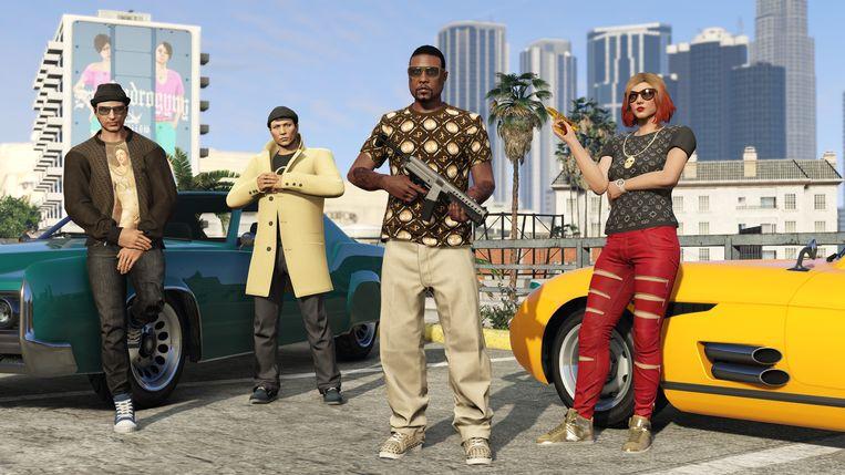 Personages uit de online multiplayercomponent van 'Grand Theft Auto V'. Beeld Rockstar Games