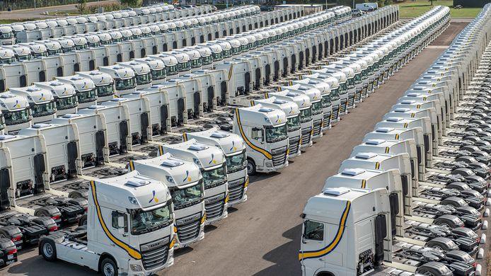 Nieuwe DAF trucks staan klaar voor vervoer naar de klant.