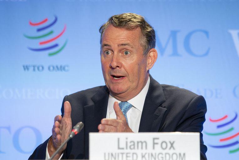 Liam Fox aast op een nieuwe functie als directeur-generaal van de Wereldhandelsorganisatie. Het huidige Conservatieve parlementslid is vooralsnog de Britse kandidaat voor die topfunctie. Beeld EPA