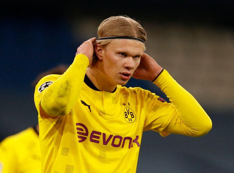 De 20-jarige Erling Haaland in de Champions League kwartfinale eergisteren.  Beeld REUTERS