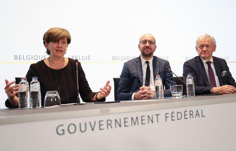 Dutordoir werd vanmiddag voorgesteld tijdens een persconferentie met premier Michel en minister van Mobiliteit Bellot. Beeld BELGA