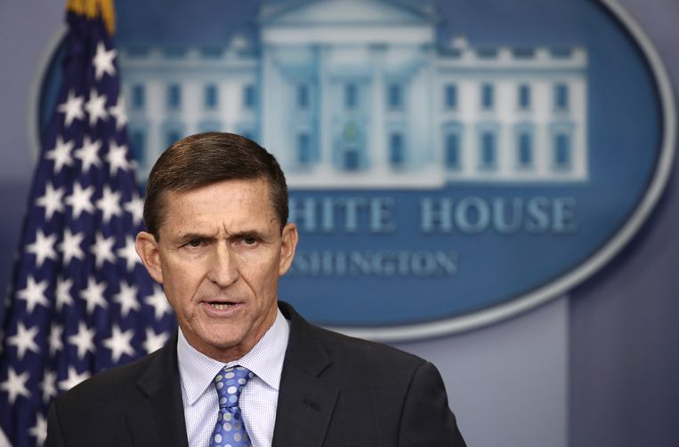Michael Flynn, een oud-generaal met een bewondering voor Poetin, schopte het onder Trump tot Nationaal Veiligheidsadviseur. Beeld AFP