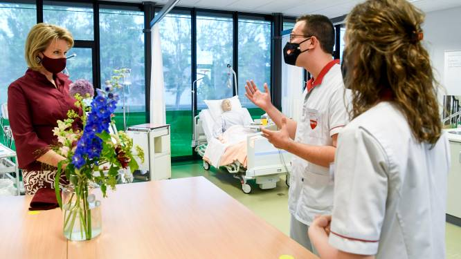 """Coronaverhalen studenten verpleegkunde maken indruk op Mathilde: """"Proficiat voor jullie engagement, het was broodnodig"""""""