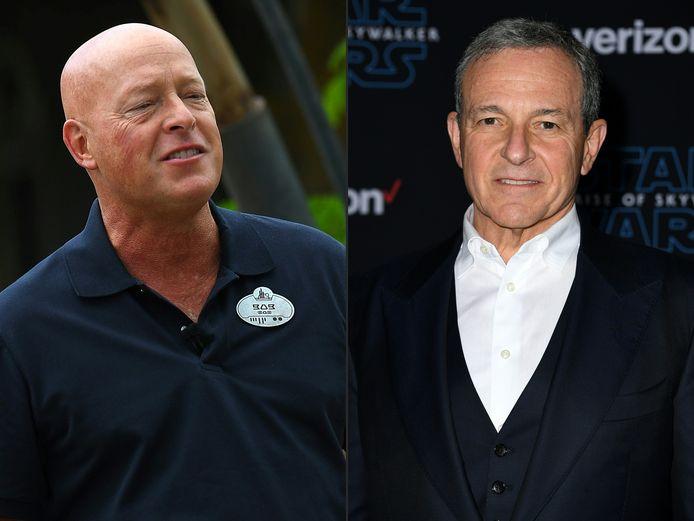 Bob Chapek (links) volgt Bob Iger (rechts) op als baas van Disney.