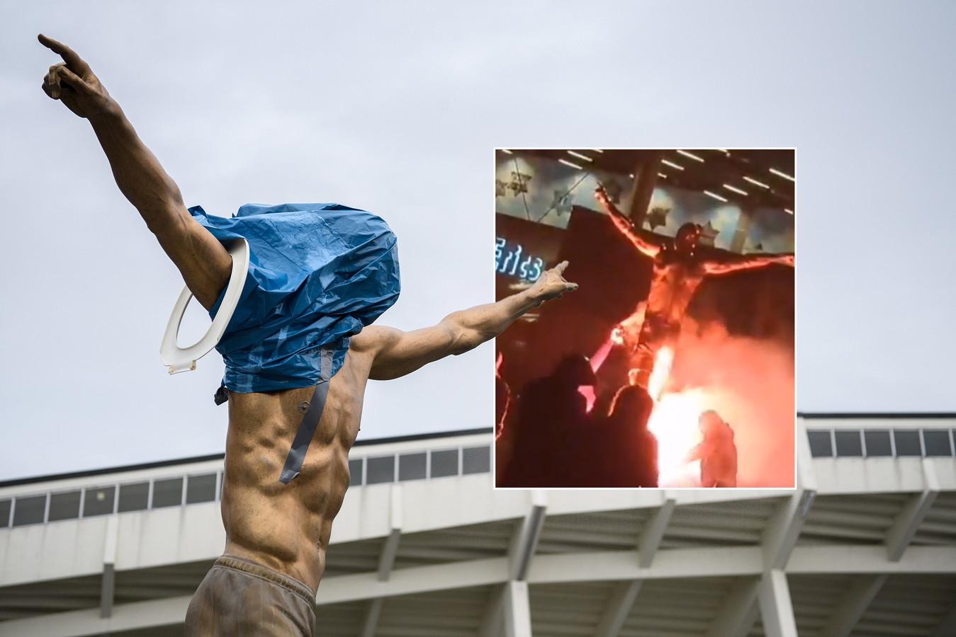 Het al bekladde standbeeld van Zlatan Ibrahimovic werd afgelopen nacht in de fik gestoken.