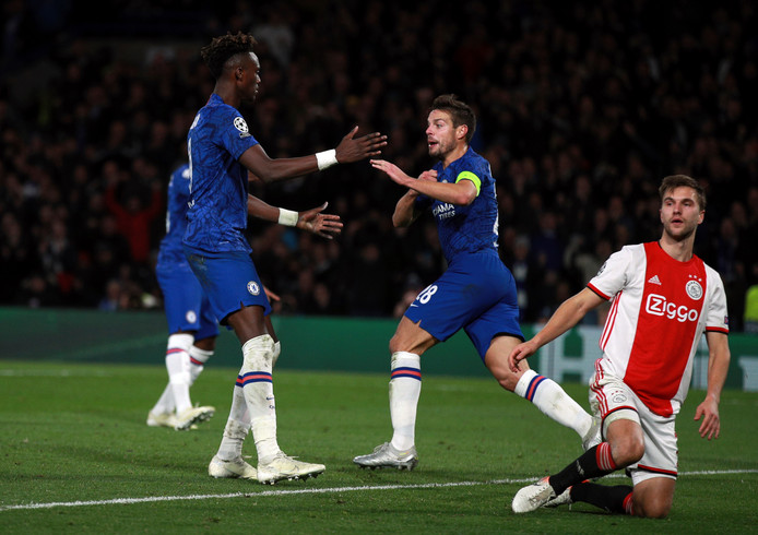 Chelsea's Cesar Azpilicueta, center, celebrates after scoring his side's second goal during the Champions League, group H, soccer match between Chelsea and Ajax, at Stamford Bridge in London, Tuesday, Nov. 5, 2019. (AP Photo/Ian Walton)