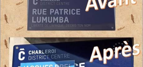 La plaque de la rue Patrice Lumumba à Charleroi a été vandalisée