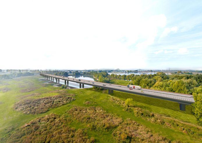 De geplande brug van de A15 gezien vanaf de Kandiadijk in Groessen.