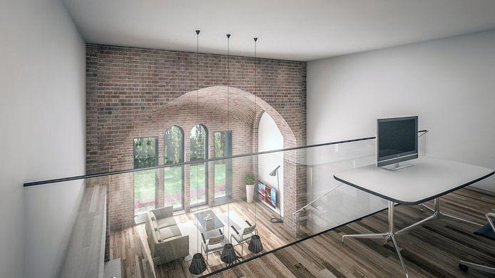 Zo zou een van de appartementen in de Maria Boodschap eruit kunnen zien. impressie JMW Architecten IPTCBron  Hermon Erfgoed.   Maria Boodschapkerk in Goirle. Fotocredit: Hermon Erfgoed.