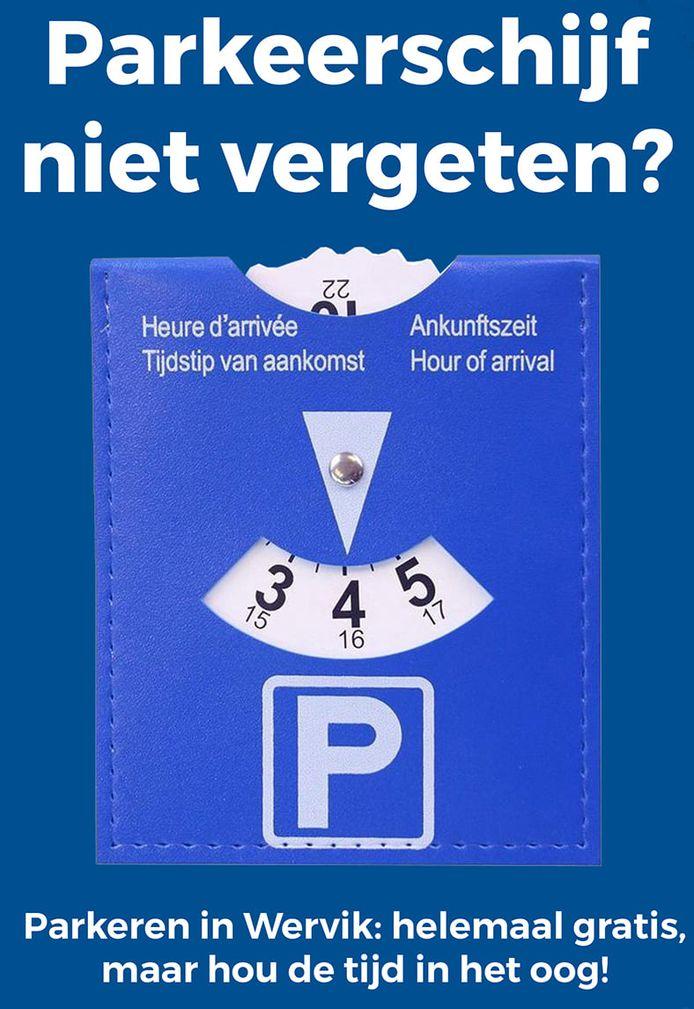 In de blauwe zone moet de parkeerschijf op het dashboard duidelijk worden gelegd.