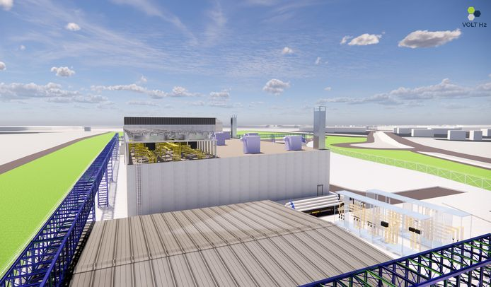 Impressie van de fabriek voor groene waterstof die VoltH2 en Virya Energy willen bouwen in het Terneuzense havengebied.