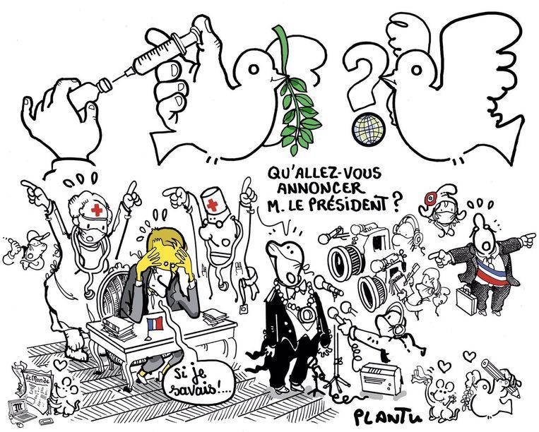 De laatste illustratie van Plantu voor de cover van Le Monde. Beeld